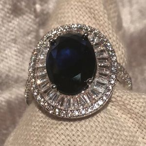 Oval Blue Sapphire Statement Ring